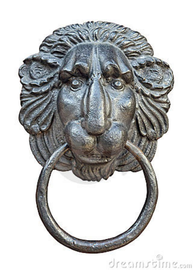 Medieval Door Knocker, Iron Lion Head Cutout Stock Photography   Image:  12280402