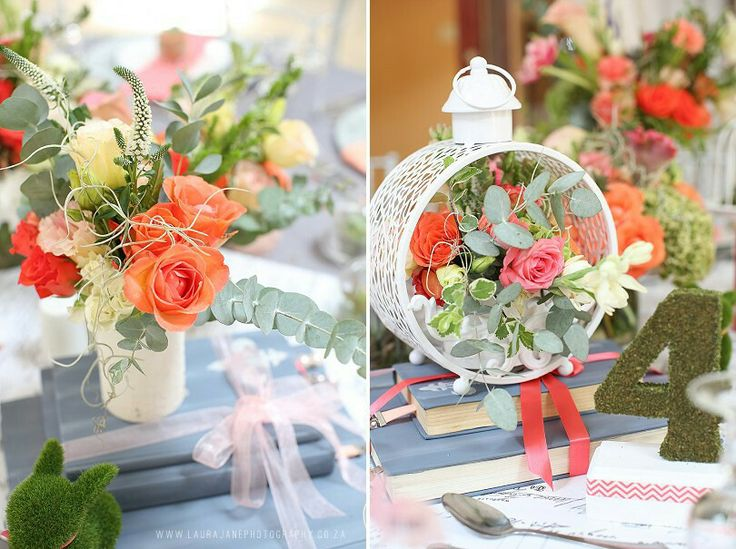 Decor - glass domes lanterns coral peach & dusty pink books and moss table numbers