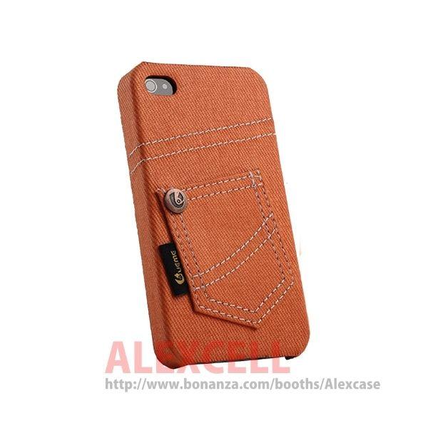 Denim Jeans case for Iphone 4/4s Orange Jeans (get 1 plastic case free)