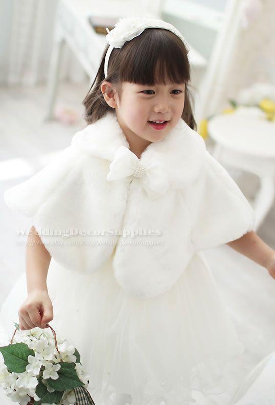 Flower Girl Faux Fur Wrap Bolero Shawl Wedding Shrug Stole