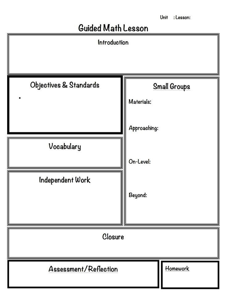 math lesson plan template pdf