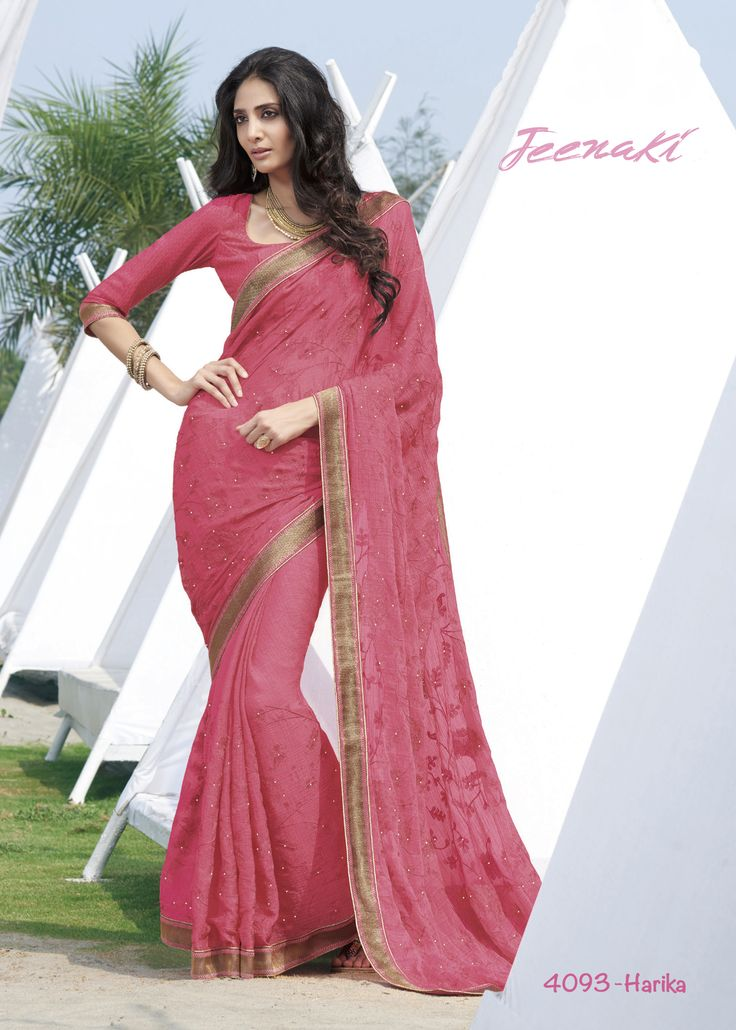 Here Comes Gajri Chiffon Pattern Party Wear Saree With Crepe Silk Blouse at Lalgulal.com ‪#‎Price‬ :- 3,591/- inr. To ‪#‎Order‬ :- http://goo.gl/ZE38J1 To Order you Call or ‪#‎Whatsapp‬ us on +91-95121-50402 COD & Free Shipping Available only in India.