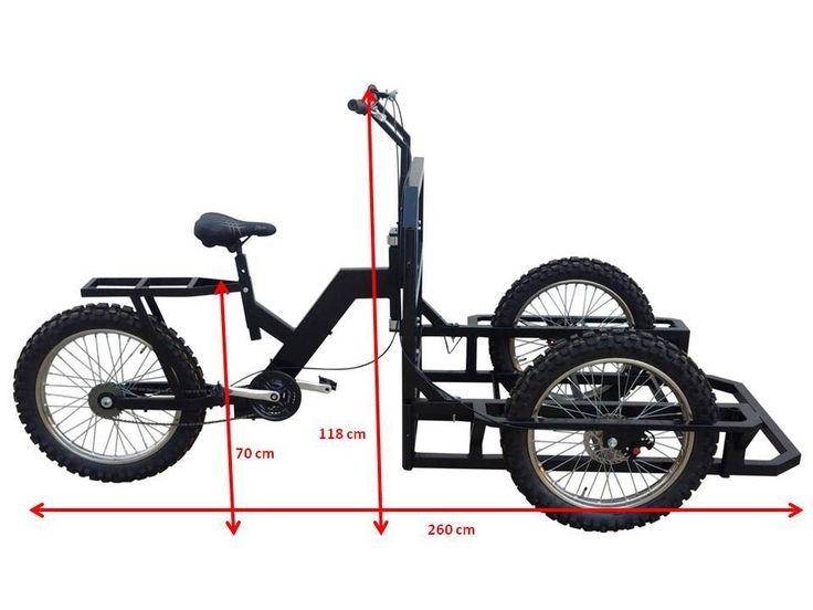 Italian Tricycle Cargo Bike ATTILA HEAVY DUTY with Lowered Platform, and renforced wheels is designed for Heavy Duty.