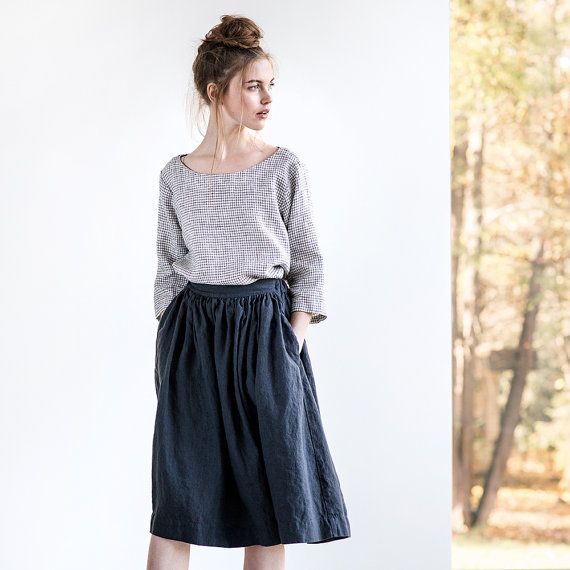 Linen skirt with deep pockets / A line washed by notPERFECTLINEN