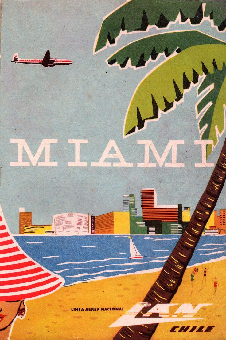 LAN Chile. Línea Aérea Nacional. Miami. Publicidad en revista en Viaje N°301 de noviembre de 1958.