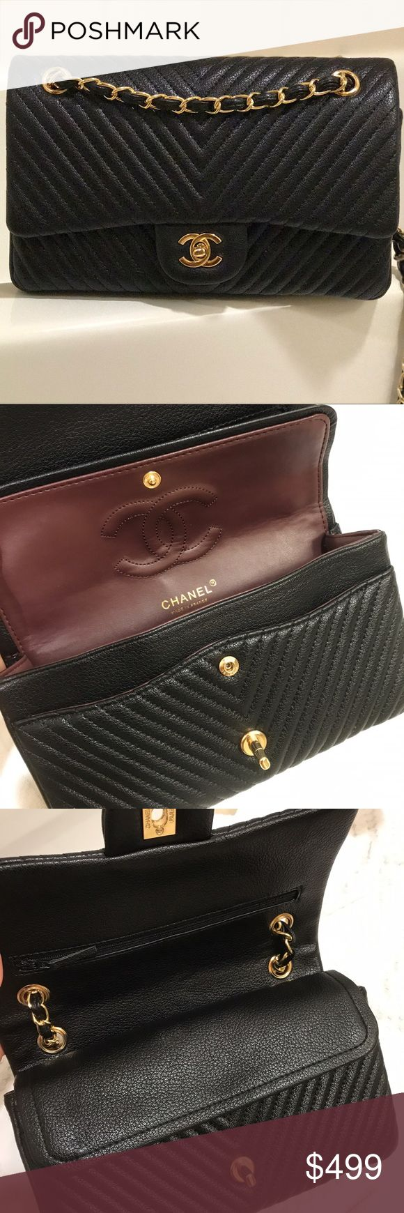 Classic medium chevron flap New never used medium chevron quilted flap bag. 100%real calfskin leather with gold HW. Outstanding quality bag! Price re flects!! Comes with dust bag and cards. CHANEL Bags Shoulder Bags