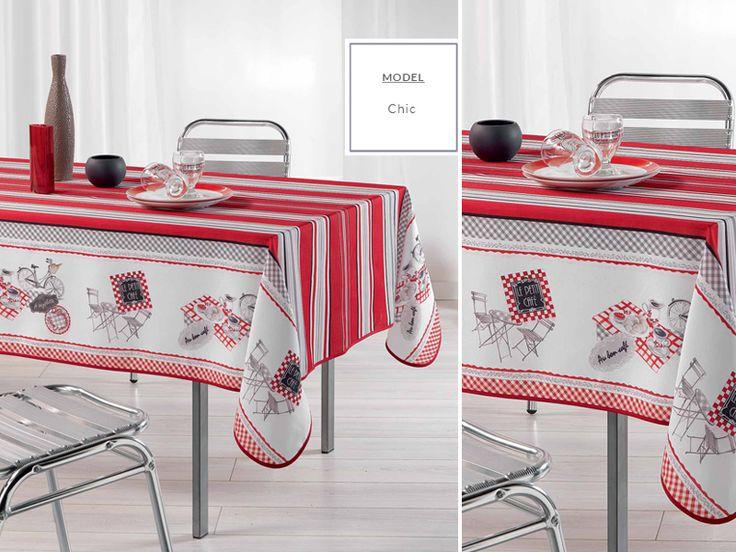 Obrus na stół kuchenny szaro czerwony z motywem restauracji