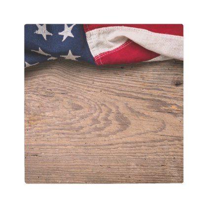 #Posters #Metal #Art - #Vintage American Flag Border Metal Print
