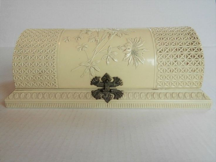 Mirror & Brush Vanity Dresser Set & Celluloid Box - Gutta Percha Florence 1893