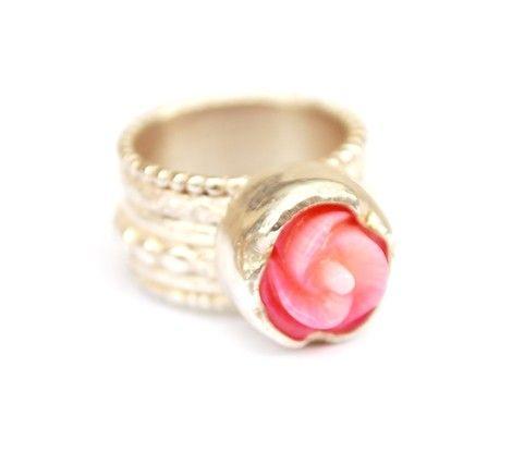 Ring met roos | Ringen - Zilver | Nadine Kieft Jewelry Webshop