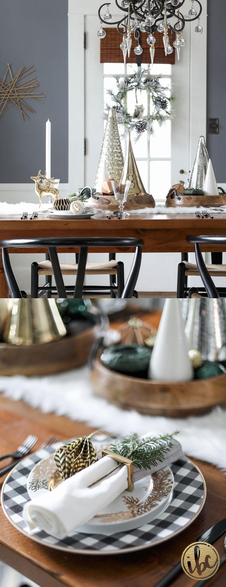Black, Metallic, and Green Dining Room Christmas Decor | Holiday Home Tour via inspiredbycharm.com