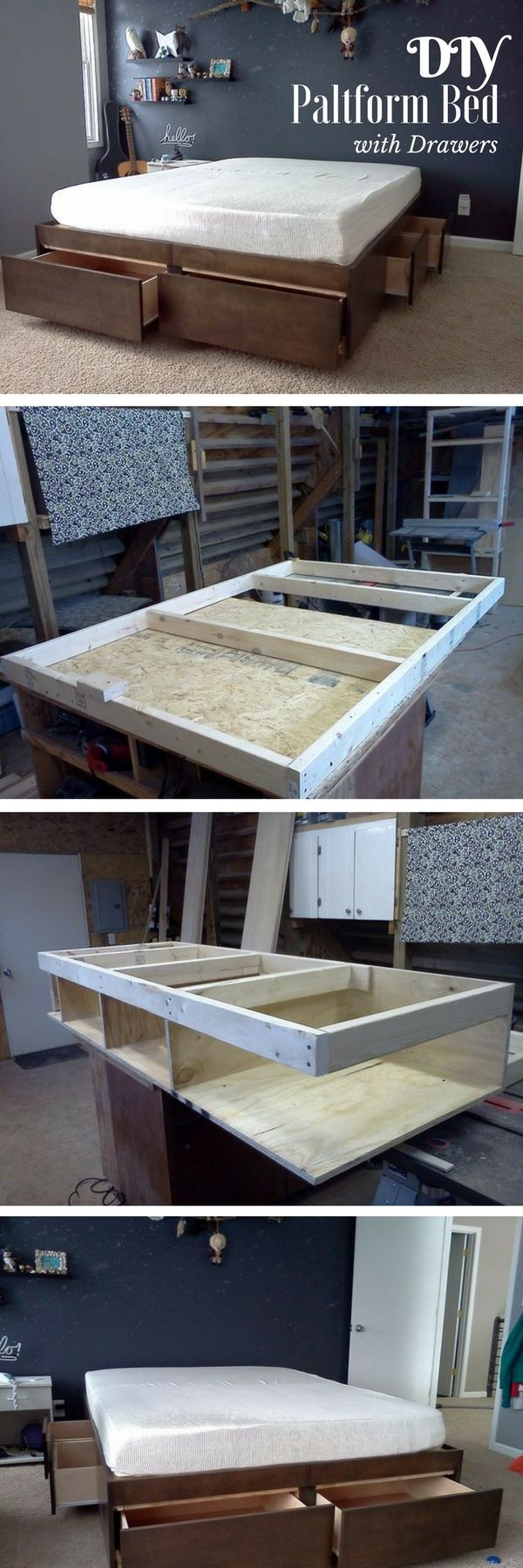 Check out this easy idea on how to build a #DIY platform bed with drawers for #bedroom #homedecor #budget #project @istandarddesign