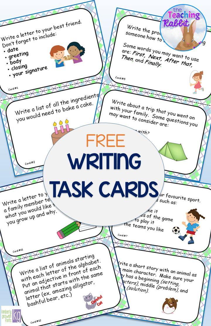 Use this set of 12 large format writing task cards to get your primary students writing! These are great to use in literacy centers or for early finishers.