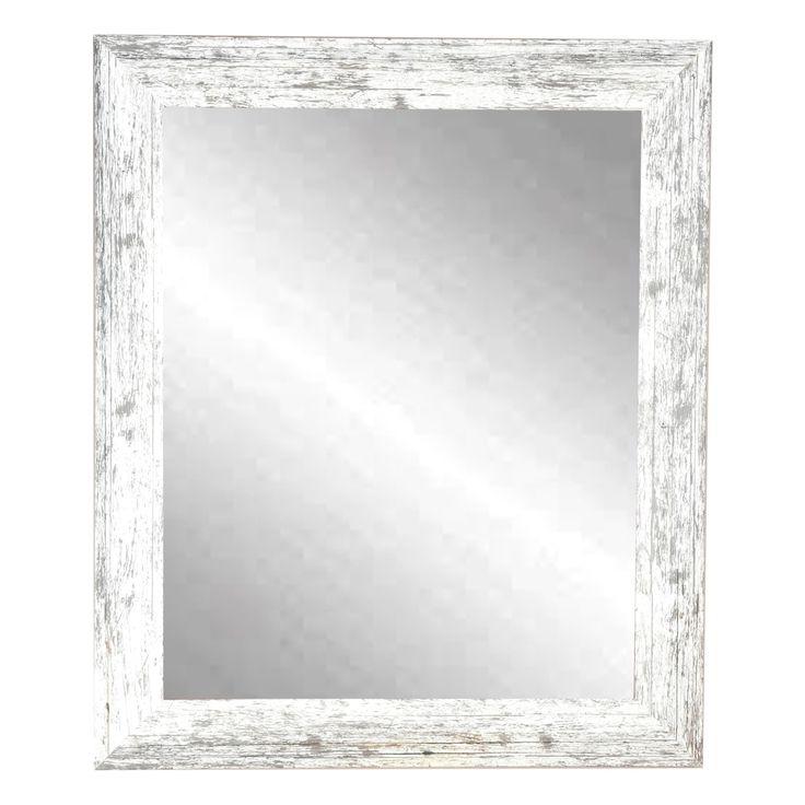 Distressed White Wall Mirror - white/grey (22 x 32.5)