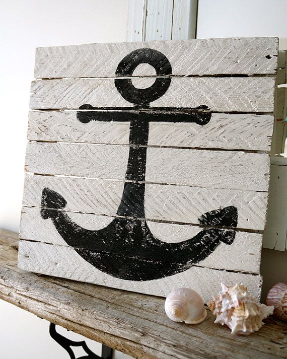 Painted Anchor 12x12 made from reclaimed by LittleShoreHouse, $50.00