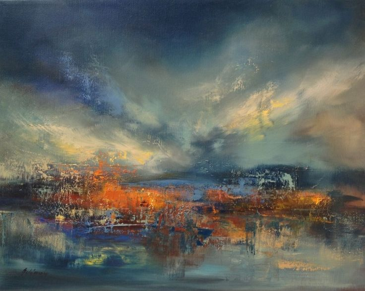 Mystic Lake - 40 x 50 cm, abstract landscape oil painting, blue, red, orange (2016) Oil painting by Beata Belanszky Demko | Artfinder