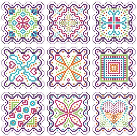 Free cross stitch colorful biscornus. Click on words below design to access chart.