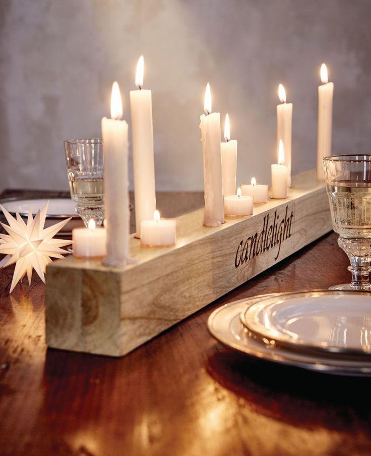"""Einladend und bis ins Detail liebevoll arrangiert - dieser hochwertige Leuchter mit eingefrästem Wording """"candlelight"""" und sieben Metalleinsätzen für Stabkerzen verleiht den besonderen Momenten in unserem Leben zu jeder Jahreszeit ein angemessen stimmungsvolles Flair. #Weihnachten #XMAS #Festtagstafel #Impressionenversand"""