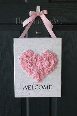valentineValentine'S Day, Crafts Ideas, Heart, Doors Hangers, Valentine Day, Welcome Signs, Front Doors, Hot Pink, Doors Signs