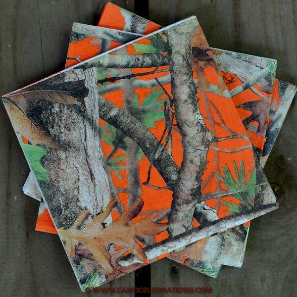 Camo Celebrations  - Orange Camo Lunch Napkins 16-Pack, $2.99 (http://www.camocelebrations.com/orange-camo-lunch-napkins-16-pack/)