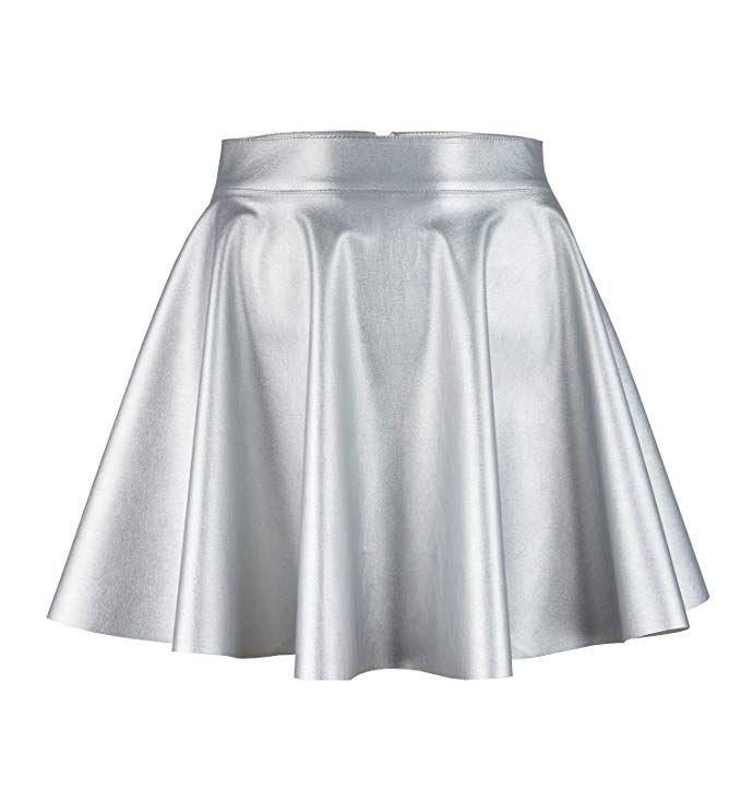 Damen Leder Hohe Taille Ausgestellt Minirock Vintage Kleid