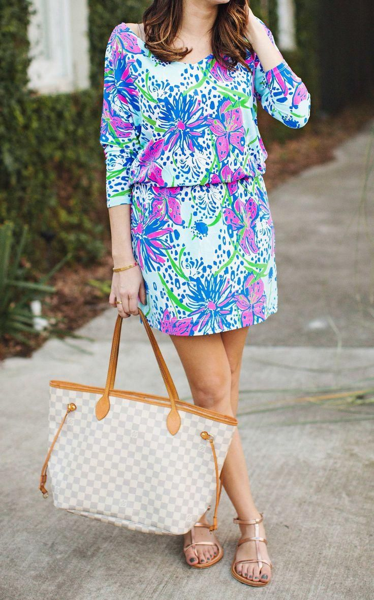 Lilly Pulitzer Cara Dolman Sleeve Dress in Resort White In the Garden worn by @Stefanie W W Dasher // Life on the Squares