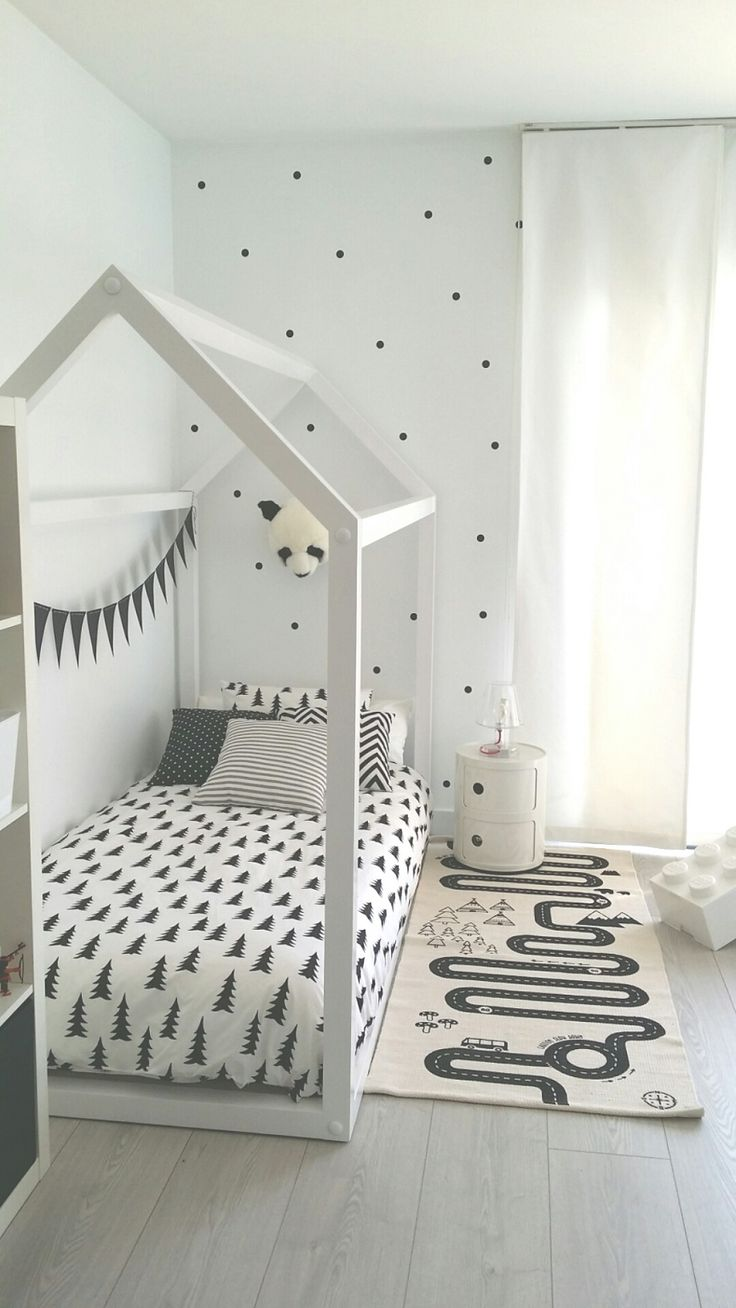 // black and white kids room