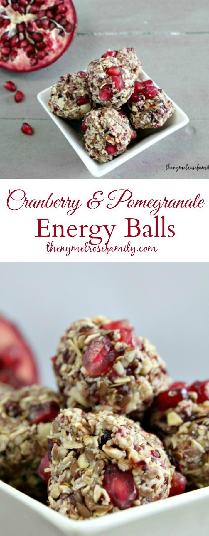 These Cranberry & Pomegranate Energy Balls make the perfect healthy snack to keep you on track.