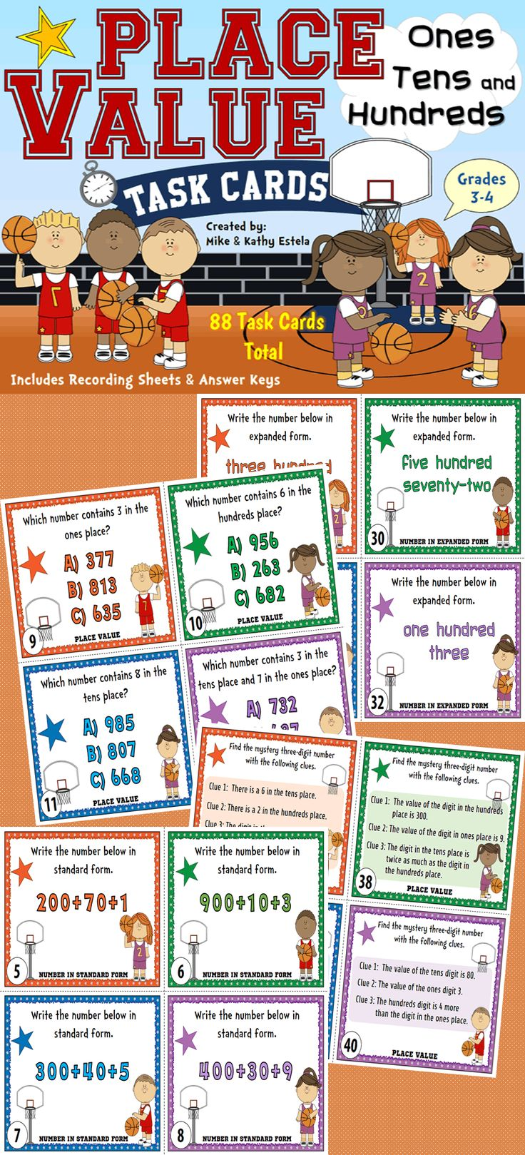 Place Value Task Cards {Ones, Tens, and Hundreds}. Contains 2 sets of task cards - 88 Task Cards total! $