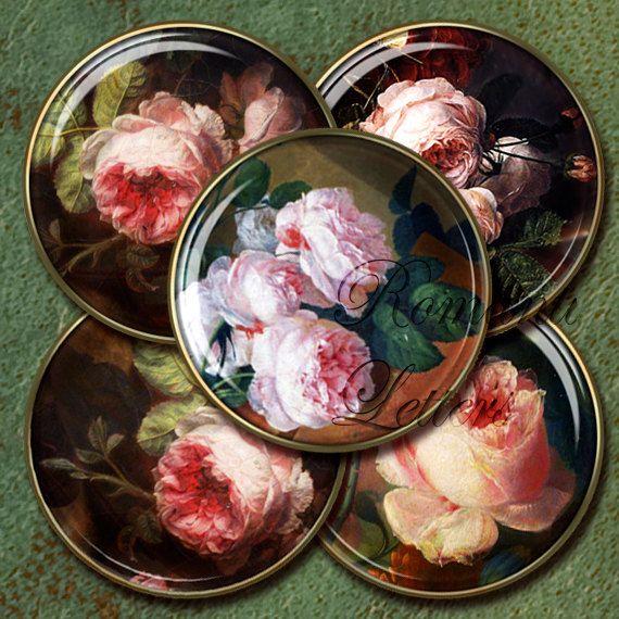 1 inch circle floral printable digital collage sheet  vintage Bottle Cap   Shabby Chic rose