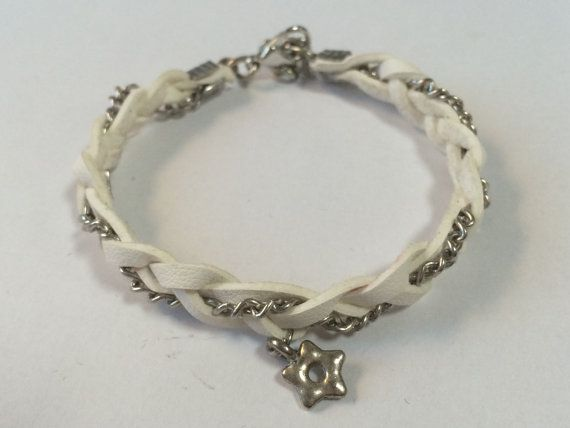 White leather braided Bracelet with silver chain, gifts for her, modern things, white jewelry bracelet, valentines day, Girlfriends gift