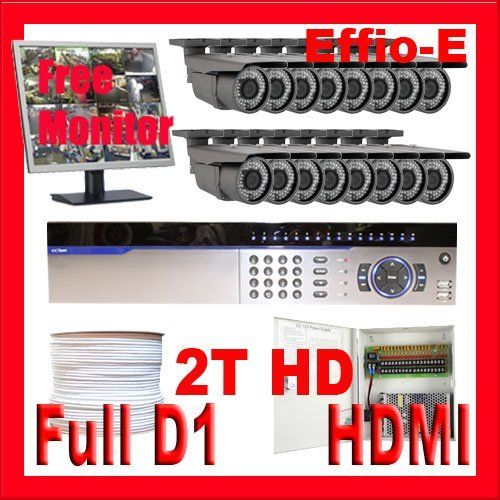"""Complete High End 16 Channel Full D1 (2T HD) DVR Surveillance CCTV Security Camera System Package w/ (16) Pack of 1/3"""" Exview HAD CCD II 700 TVL 2.8~12 mm Varifocal Lens Outdoor Cameras + 1 Free 19"""" Security Monitor by Gw. $2675.00. Package Includes: GW3016 DVR with 2T HD; Remote Control and mouse; GWLCD19IN: Free 19"""" LCD Flat Panel Display Monitor; 16 x GW50WD - 1/3"""" Exview HAD CCD II Camera; 1 x GW1000RG59: 1000 Feet RG59 Siamese Power/Video Combo Cable; GW1218-10A: 1 ..."""
