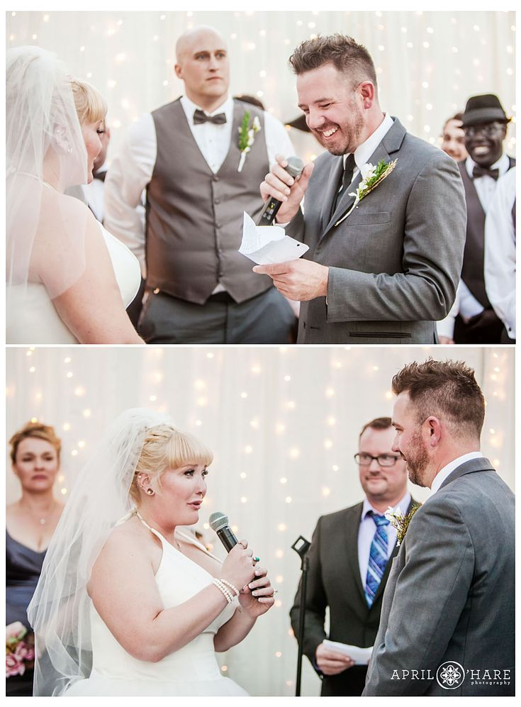 Bride and groom recite their wedding vows at their modern rooftop wedding ceremony in Denver Colorado