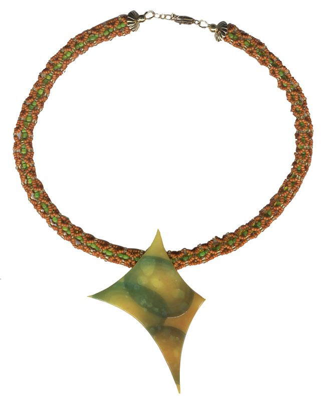 Libby's necklace: polymer clay and right angle weave