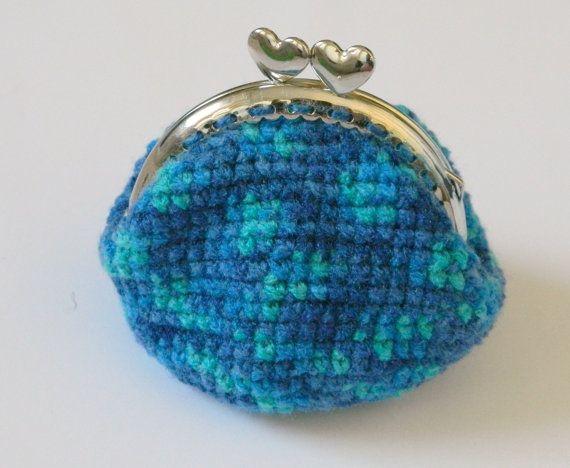 Blue crochet coin purse kiss clasp crochet  coin by craftysou, $20.00