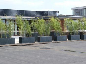 TERRASAFSCHEIDER COMPOSIET Fraaie composiet plantenbak uitgevoerd in zwartgrijs met natuursteenlook, dubbel omgezette rand voor meer stevigheid en robuust uiterlijk maar wel licht van gewicht.