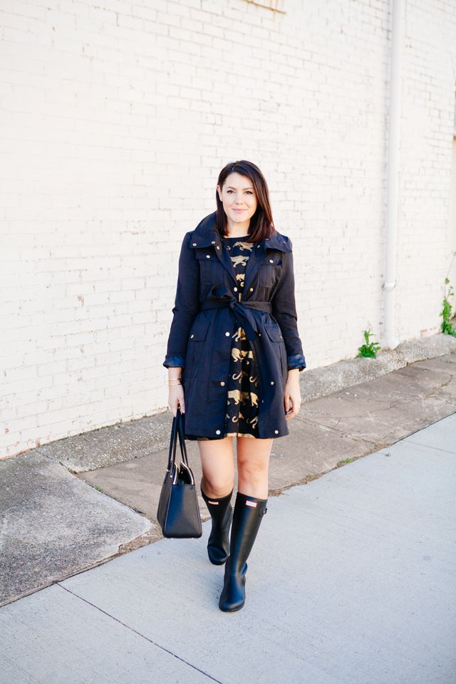 Rainy Day Style! trench coat with dark floral dress and rainboots