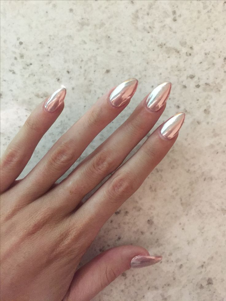 Rose gold chrome | achieved by using a melon pink base and silver chrome nail powder