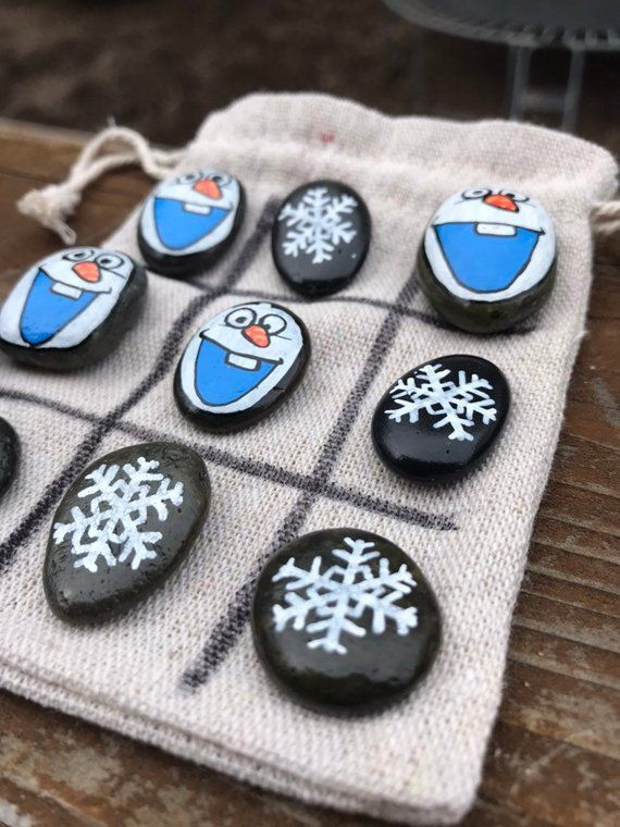 Olaf Tic Tac Toe // Kids Travel Game // Cabin Gift Ideas // Painted Rock Puzzles // Disney Cruise Gifts // Frozen Gifts // Rock Tic Tac Toe & Olaf Tic Tac Toe // Kids Travel Game // Cabin Gift Ideas // Painted ...