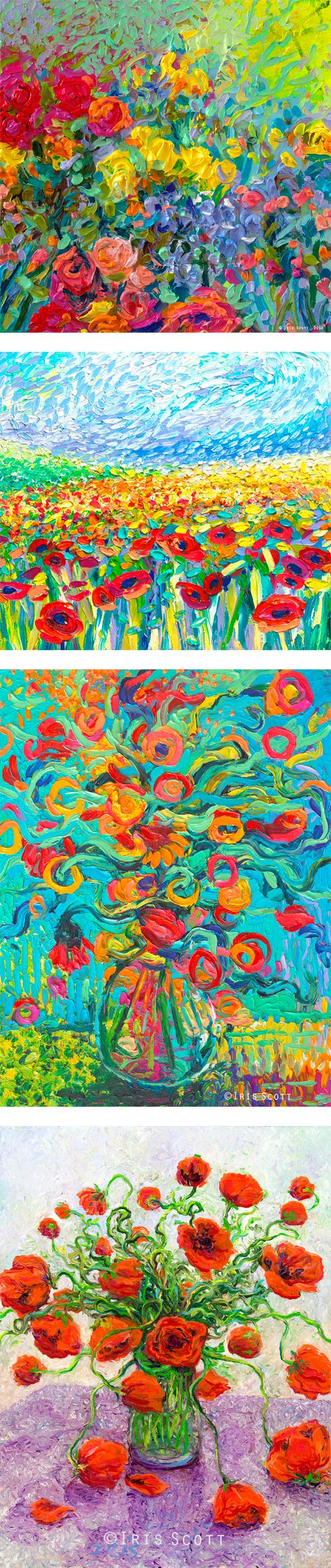 Paintings by Iris Scott. In order top to bottom: 1. Clay Flowers 2. Poppies Study  3. Samara Chica 4. The Color Poppy  Finger painted oils. Originals and prints available at www.IrisScottFineArt.com