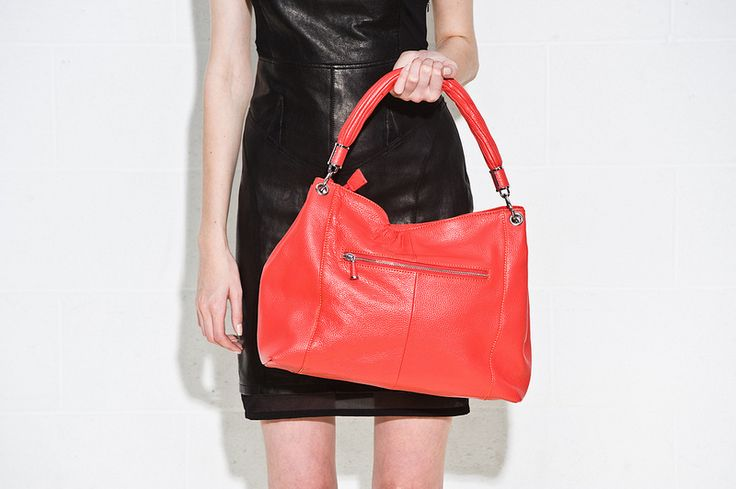 Coral leather Kelly Brown bag and black leather dress for a colour pop!