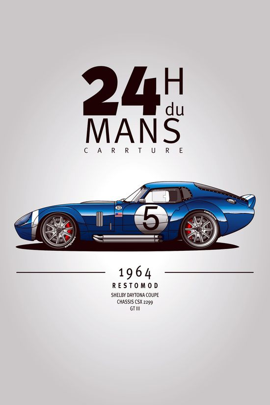 Nice '64 Shelby Daytona concept done by Carrture on Society6.