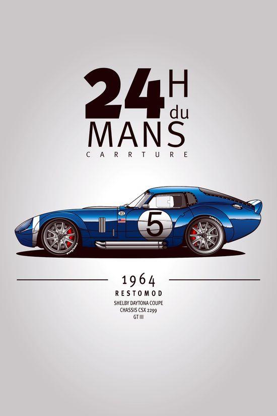 Nice '64 Shelby Daytona concept done by Carrture on Society6.