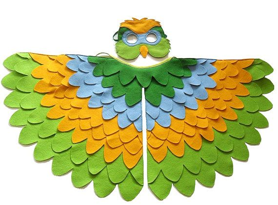 Colorful parrot costume for children in yellow, green and blue.  Kids have very vivid imagination and if possible they like to put it into practice. This parrot bird costume is ideal for imaginative play indoor our outdoor.  This bird costume consist of a mask and a set of wings made of felt. I used two shades of green, sky blue and yellow colors to make this fun parrot costume.  The wool blend felt is hand cut and machine stitched. The mask as well as the wings have an extra felt backing…