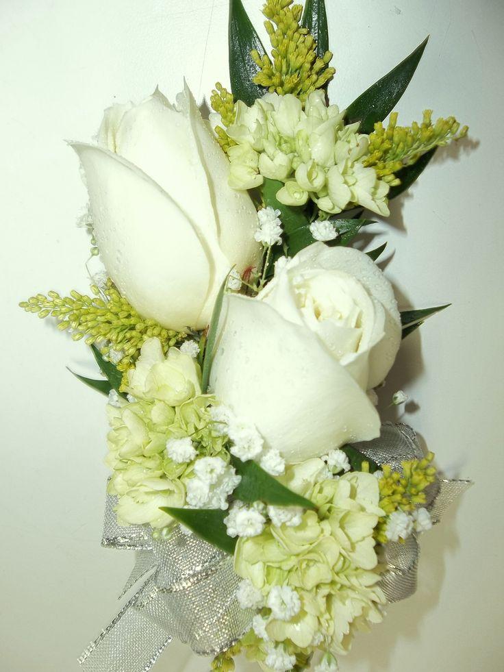 Corsage White Roses, Cream Hydrangea,Solidago | Corsage ...