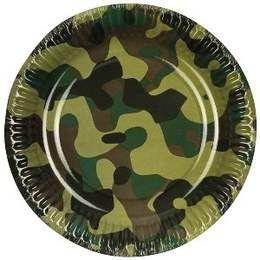 Een set met 6 bordjes met een camouflage print. Perfect voor leger themafeesten. Doorsnede: 18cm. € 1,50