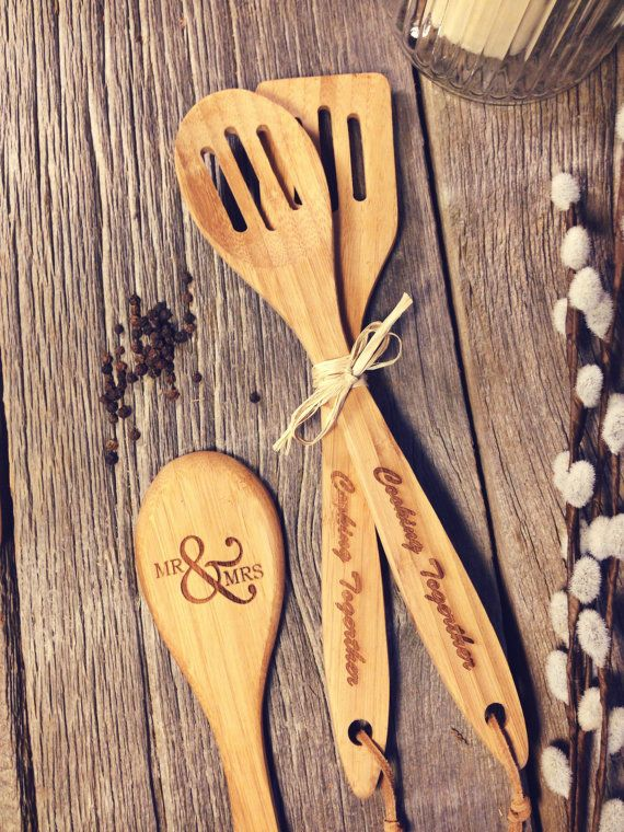 Personalized Laser Engraved Bamboo Wooden Utensils by OTBengraving