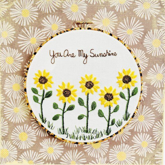 Hand Embroidery Pdf Pattern You Are My Sunshine Digital Etsy Hand Embroidery Kit Embroidery Patterns Hand Embroidery