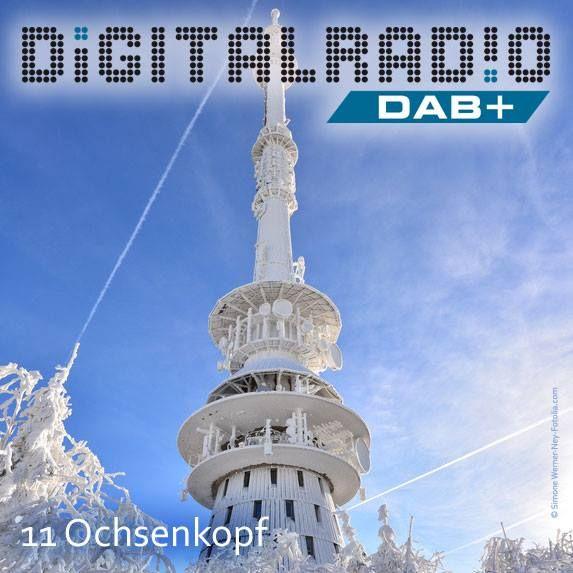 """(11) Ochsenkopf/Oberfranken * mit einer Höhe von 1024 m zweithöchster Berg des Fichtelgebirges * beliebtes Wander- und Skigebiet * 1958 Inbetriebnahme des Großsenders mit einem Fernsehsender und zwei UKW-Sender * Sender ermöglichte Empfang der """"West-Programme"""" in weiten Teilen der DDR * seit Oktober 2000 ist auch DAB on air *"""