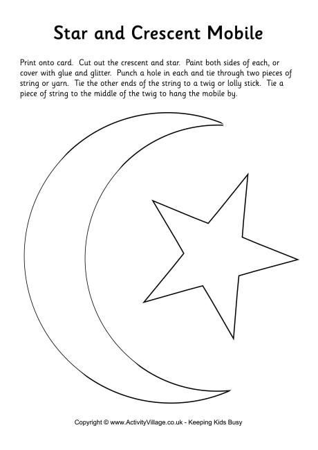 Star and crescent moon mobile template … | For kids | Eid c…